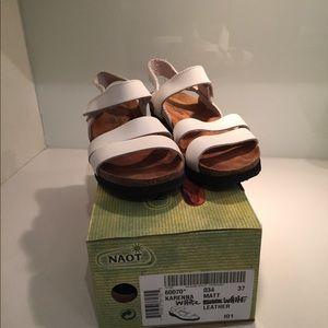 NAOT Harper white lthr sandals size euro 37 (6.5)
